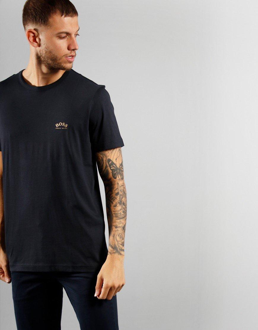 BOSS T-shirt curved Dark Blue