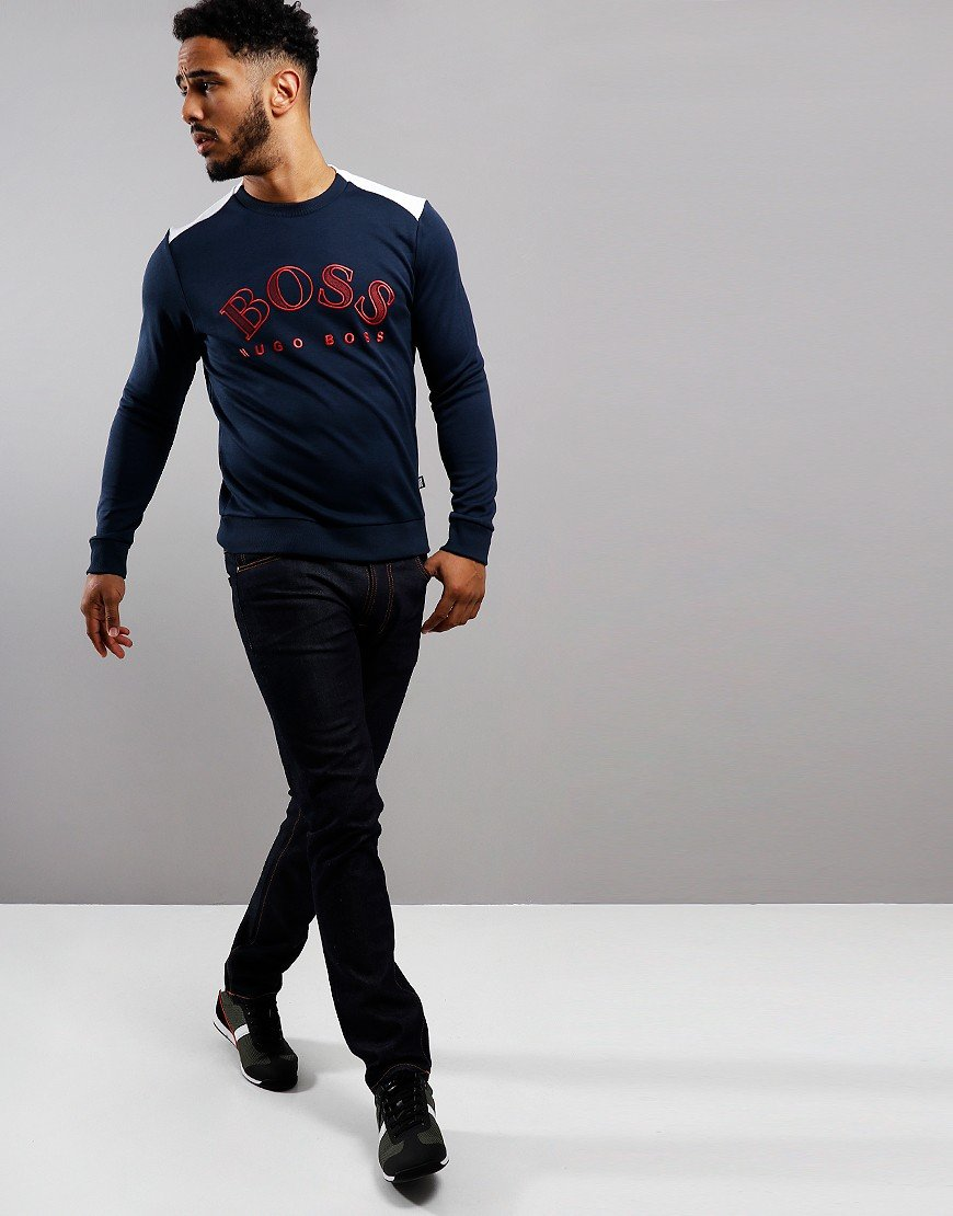 BOSS Salbo 410 Embroidered Logo Sweat Navy