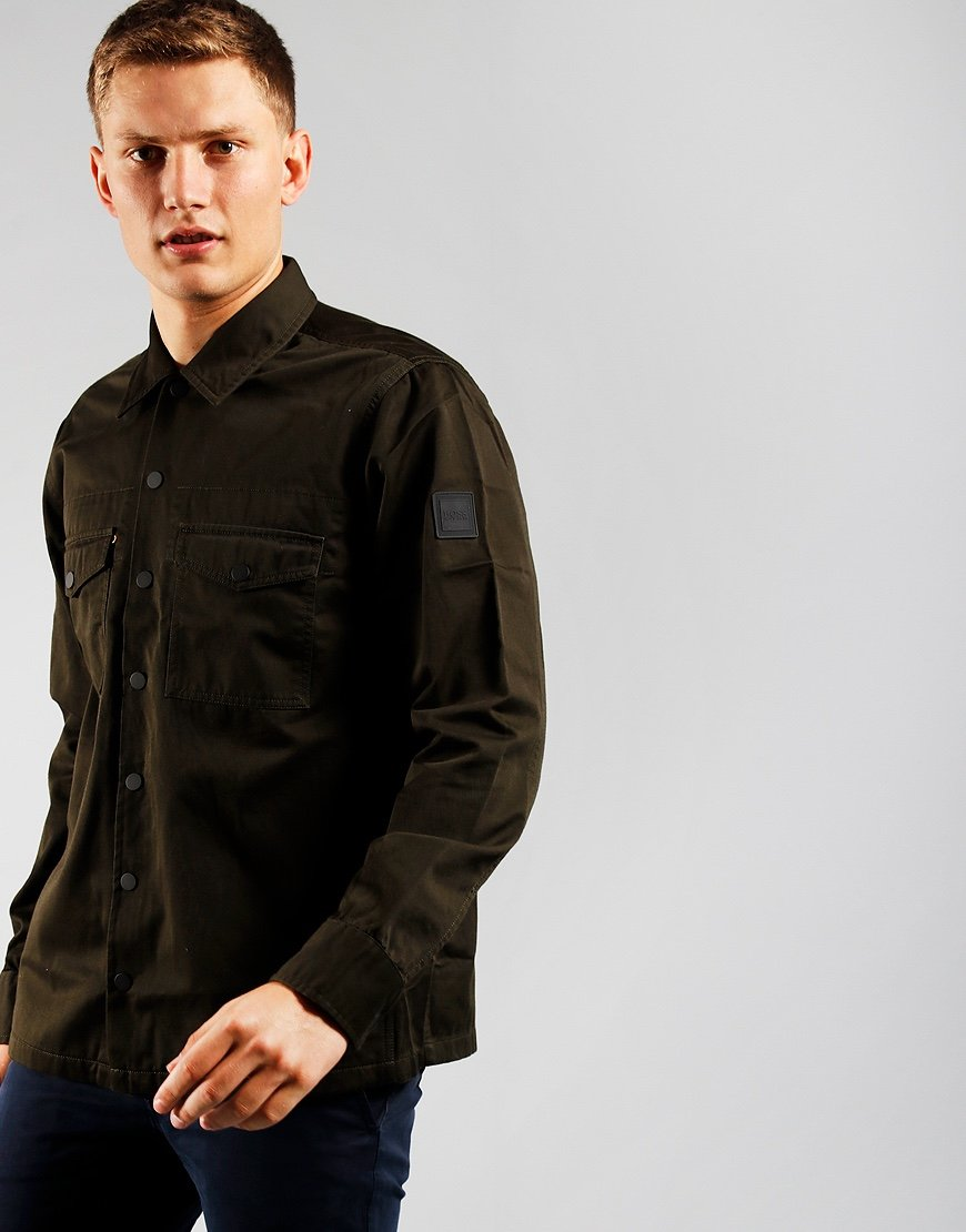 BOSS Casualwear Lovel_4 Open Overshirt Green