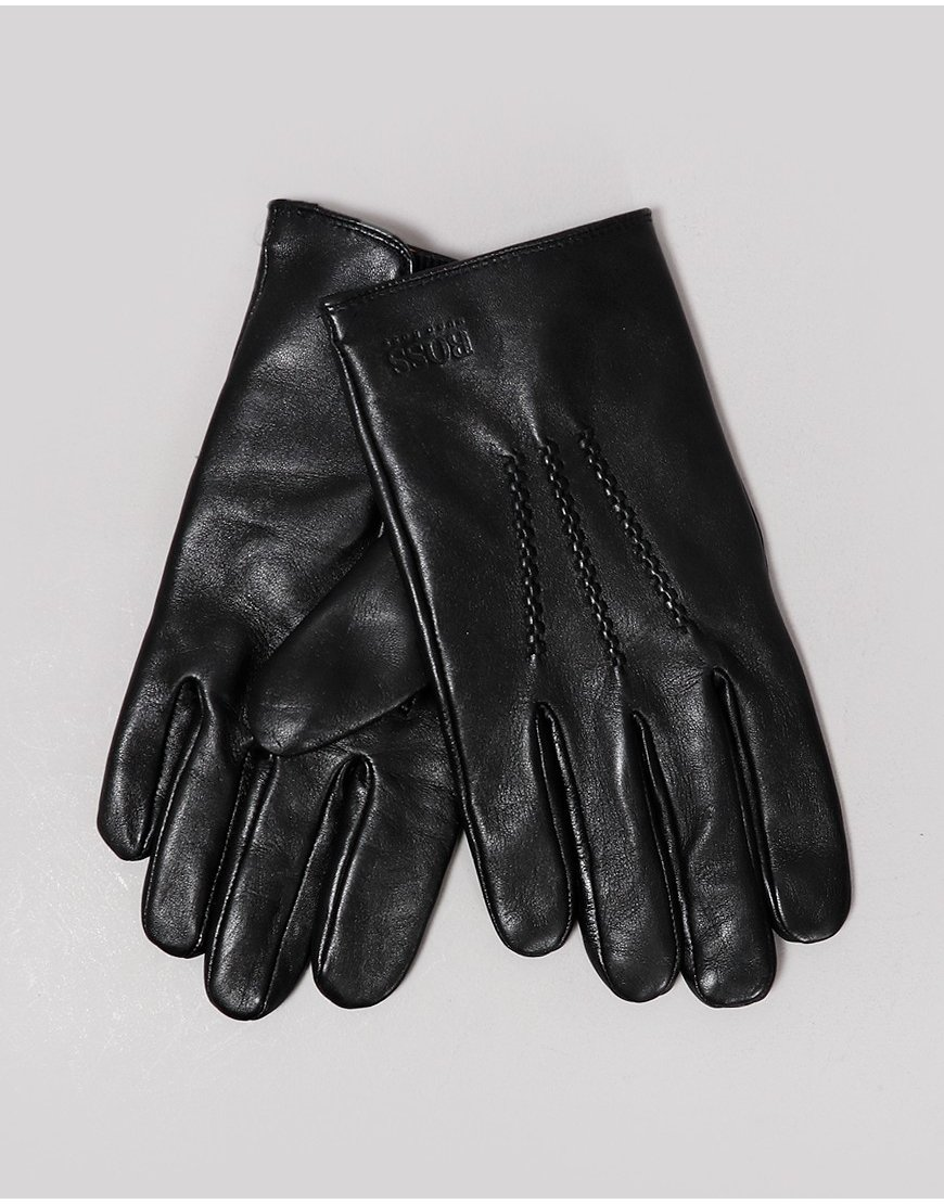 BOSS Griffin Leather Gloves Black