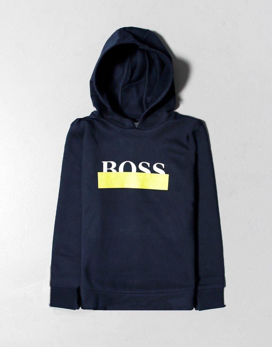 BOSS Kids Box Hoodie Navy