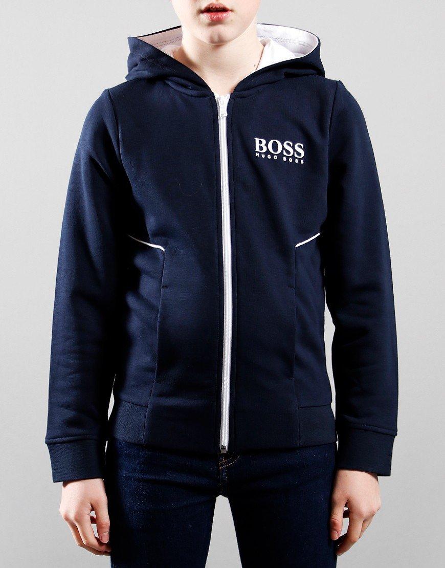 BOSS Kids Zip Hoodie Navy