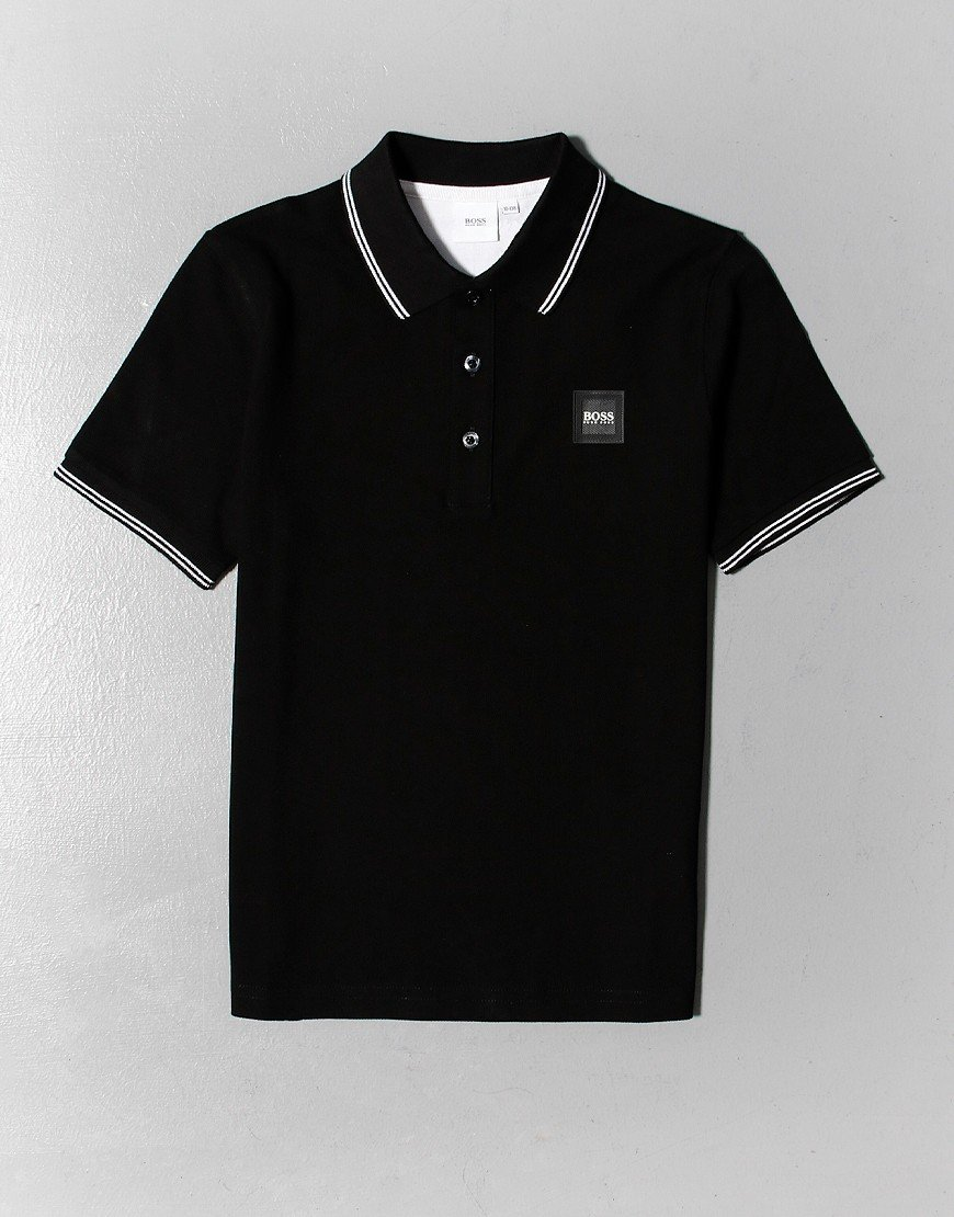 BOSS Kids Tipped Polo Shirt Black