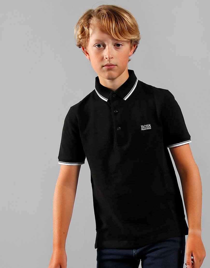 BOSS Kids Tipped Polo Shirt Black