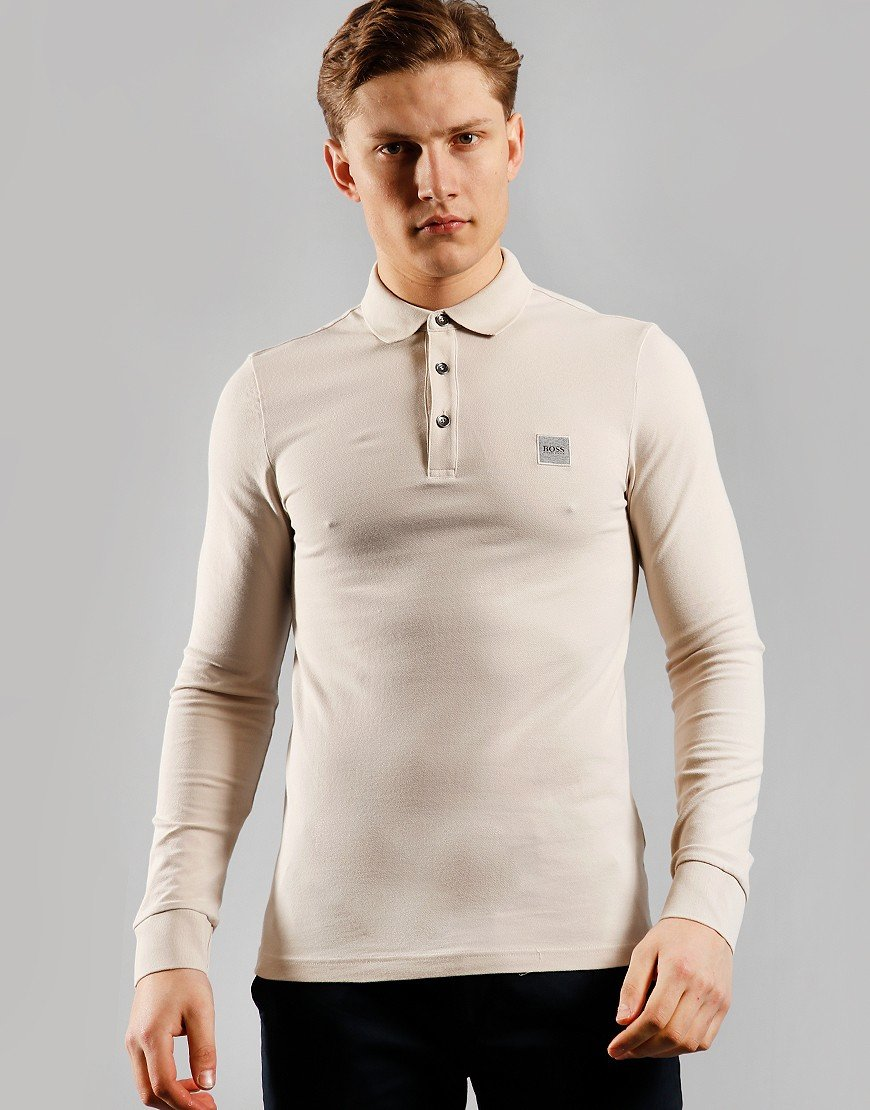 BOSS Passerby Long Sleeve Polo Shirt Light/Pastel Grey