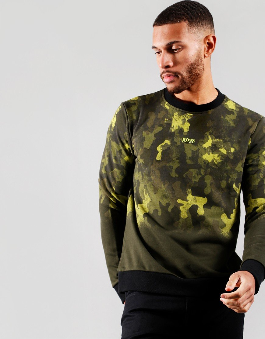 BOSS WForest Camouflage Print Sweat Open Green