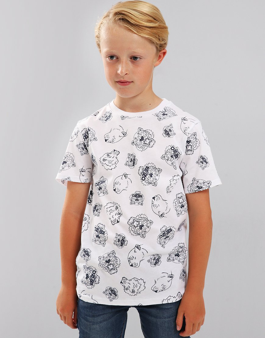 Kenzo Kids Edan Tiger Friends Print T-Shirt White