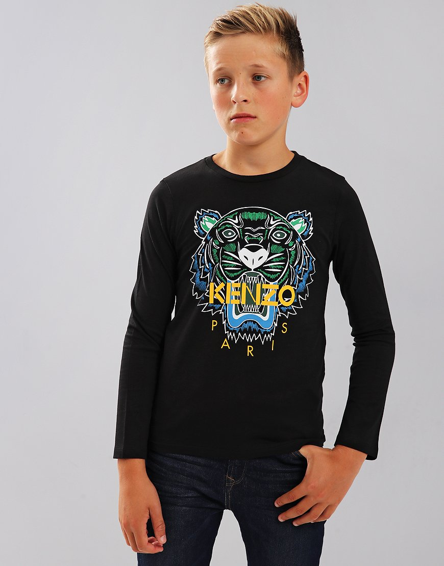 Kenzo Kids JB2 Tiger Logo Print Long Sleeve T-Shirt Black