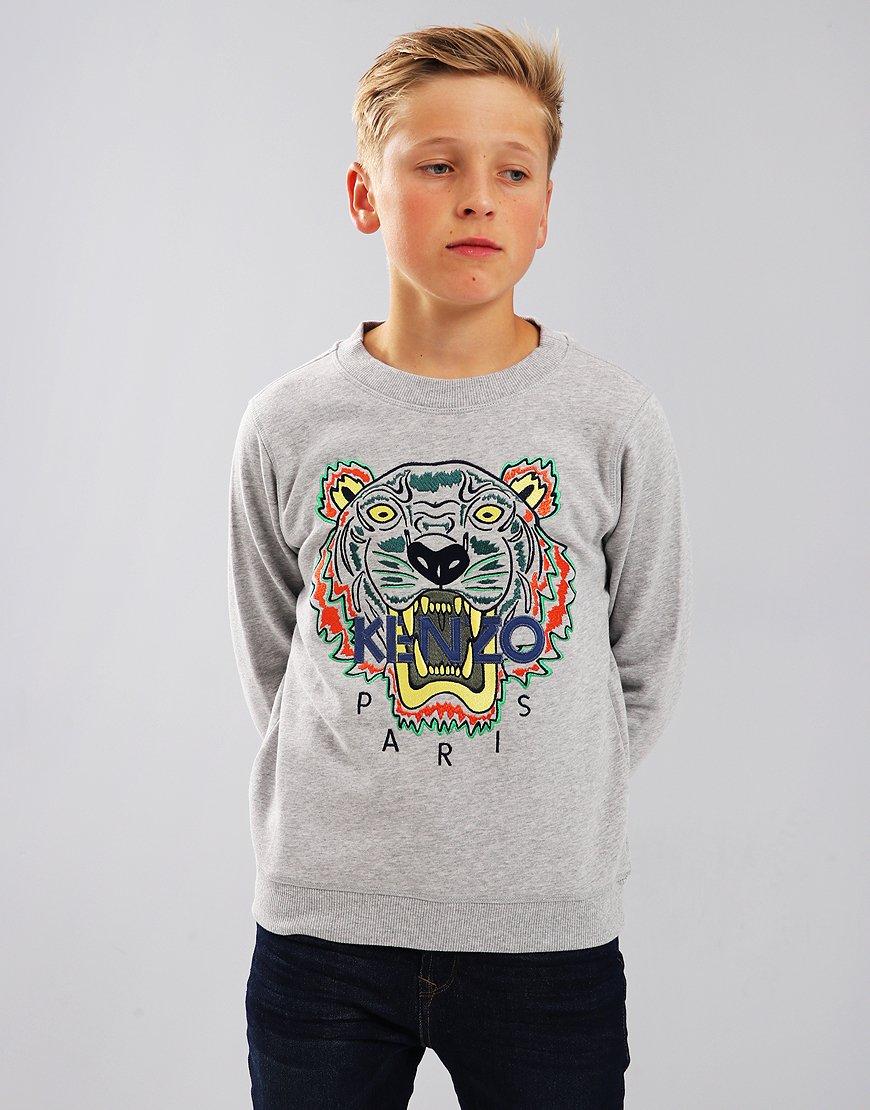Kenzo Kids Tiger Logo JB4 Sweatshirt Marl Grey