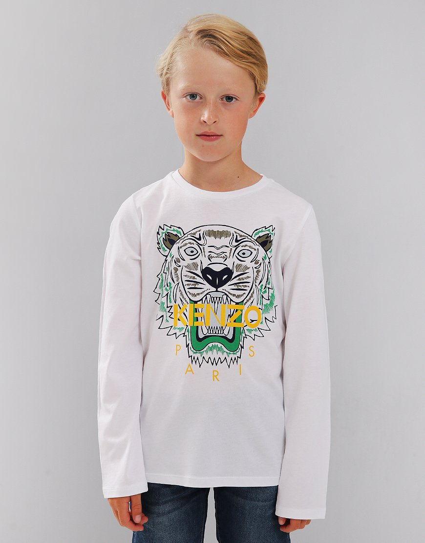 Kenzo Kids JB2 Tiger Logo Print Long Sleeve T-Shirt White
