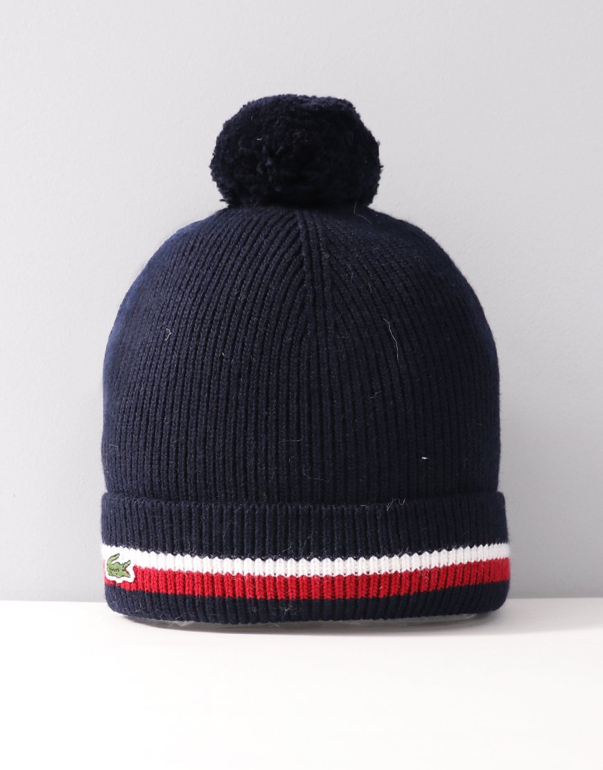 Lacoste Kids Contrast Edging Ribbed Beanie Navy