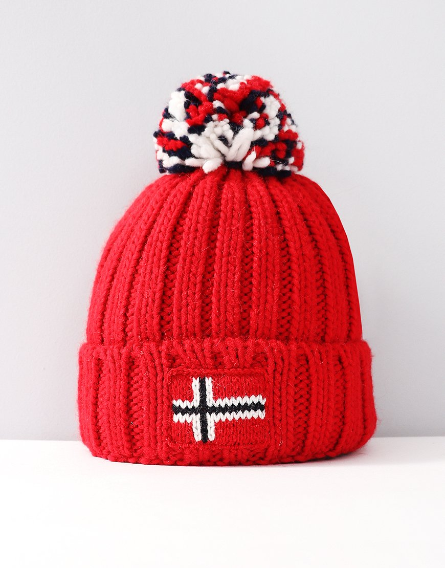 Napapijri Youth Semiury Beanie Pop Red - Terraces Menswear 7b8be164443