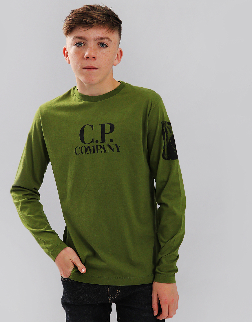 C.P. Company Kids Long Sleeve Lens Arm Logo T-Shirt Pesto