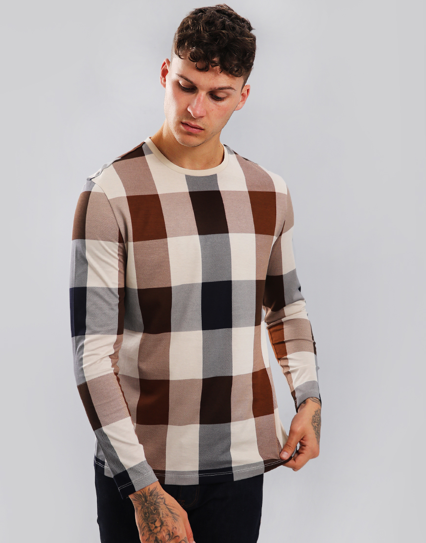 Aquascutum Jed Club Check Long Sleeve T-Shirt Vicuna