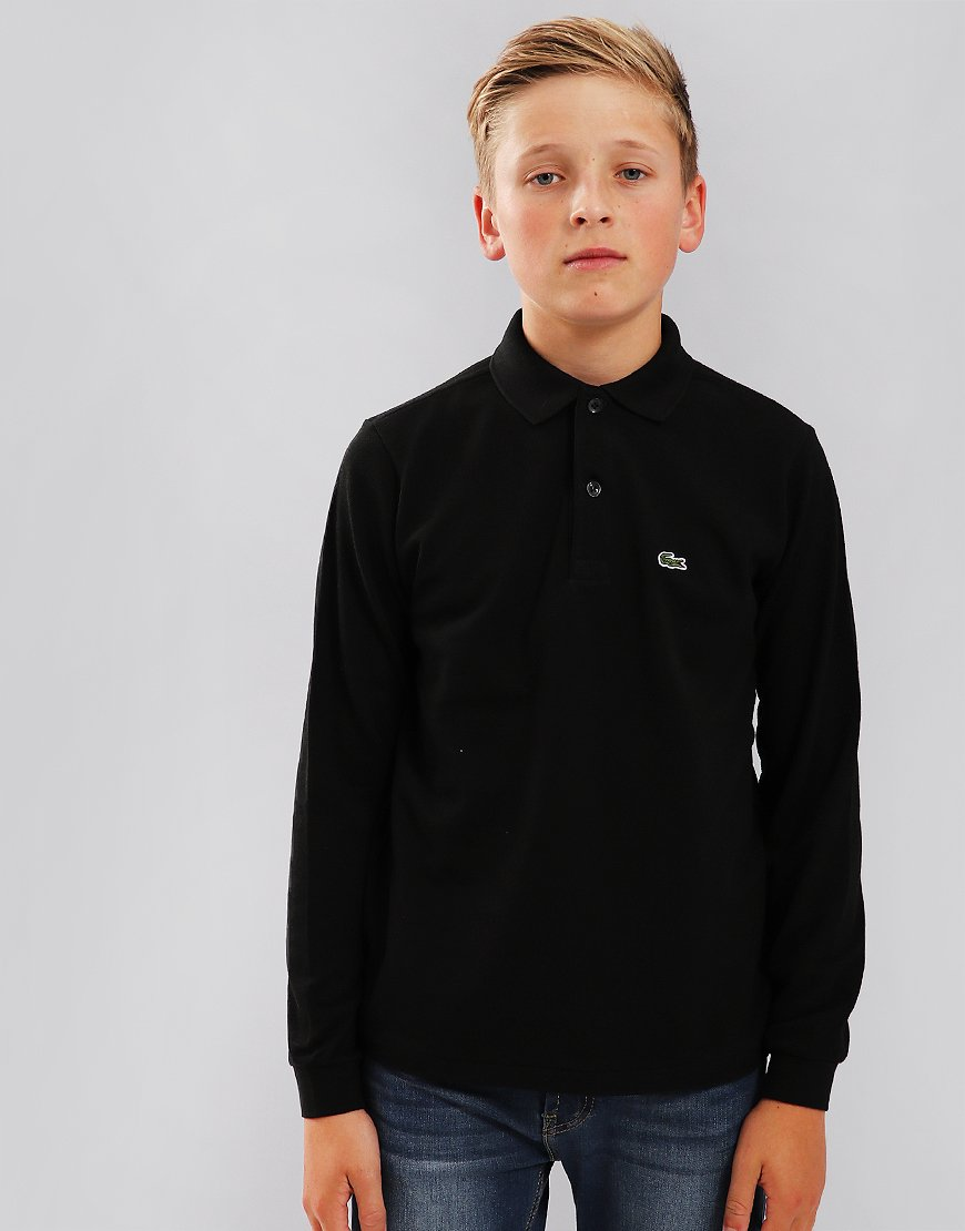 Lacoste Kids Plain Long Sleeved Polo Shirt Black