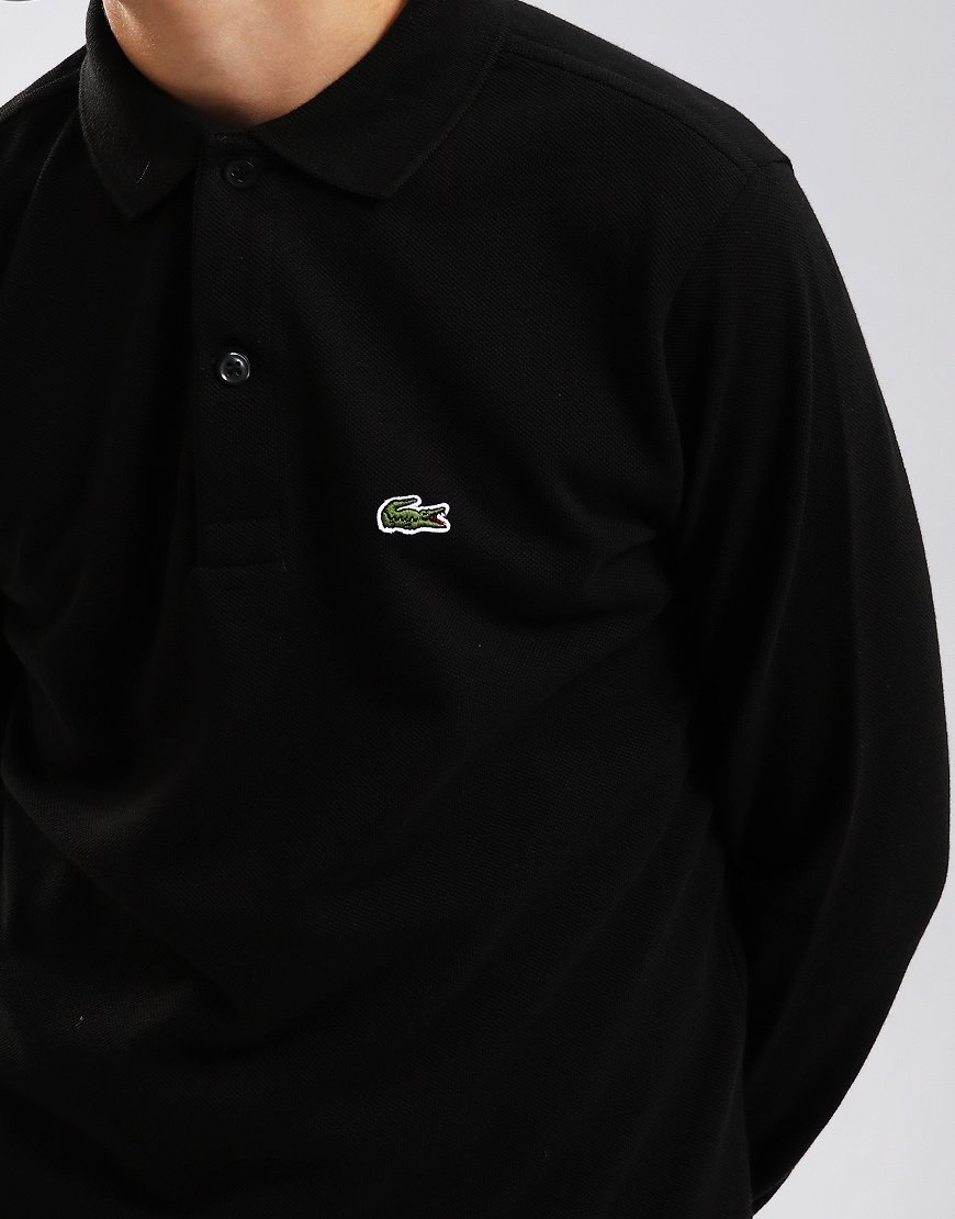 f7c62331 Lacoste Kids Plain Long Sleeved Polo Shirt Black
