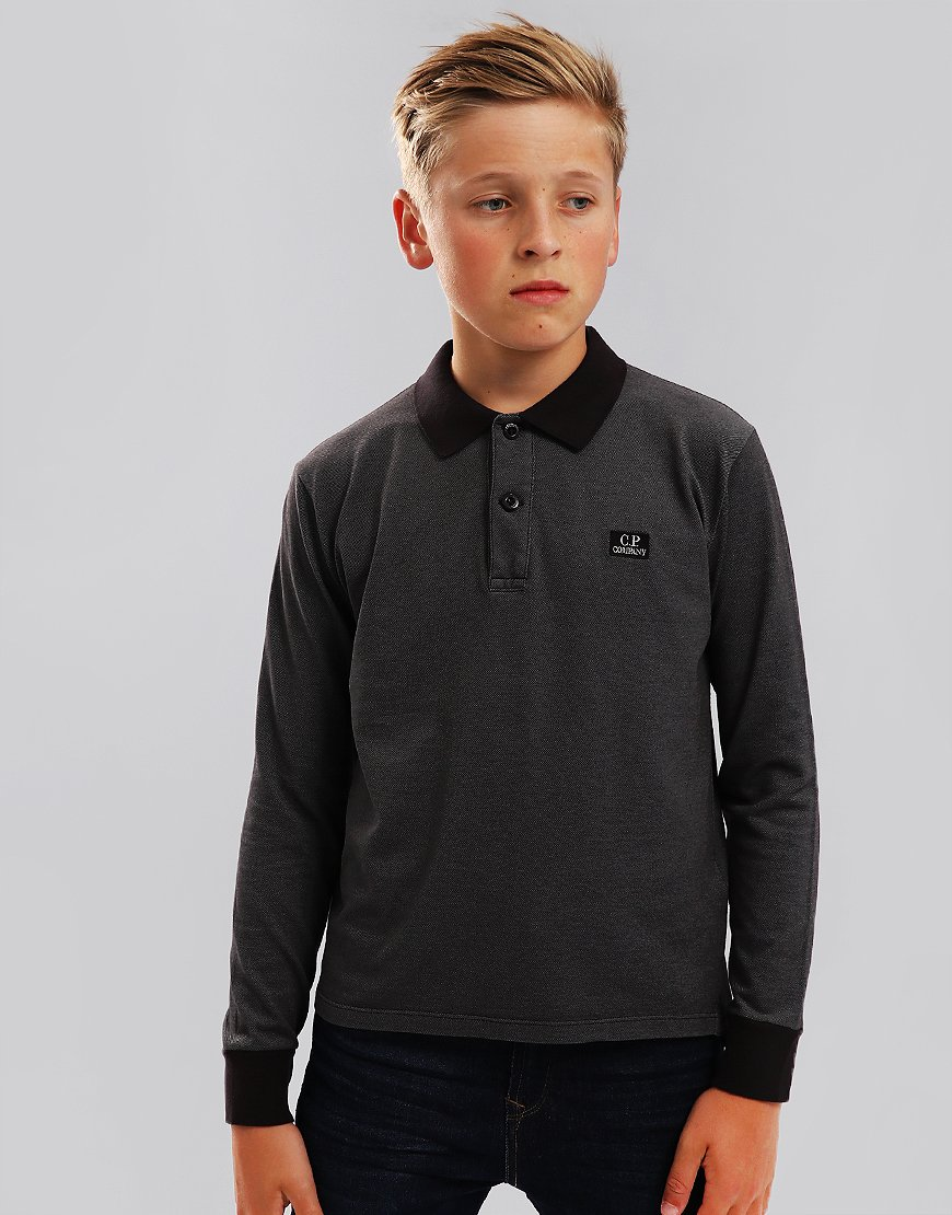 C.P. Company Kids Long Sleeve Polo Shirt Black Coffee