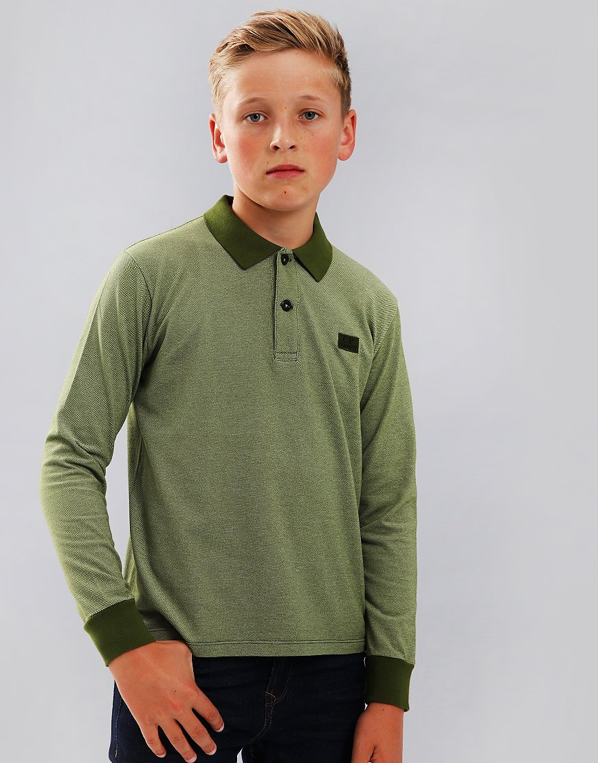C.P. Company Kids Long Sleeve Polo Shirt Pesto
