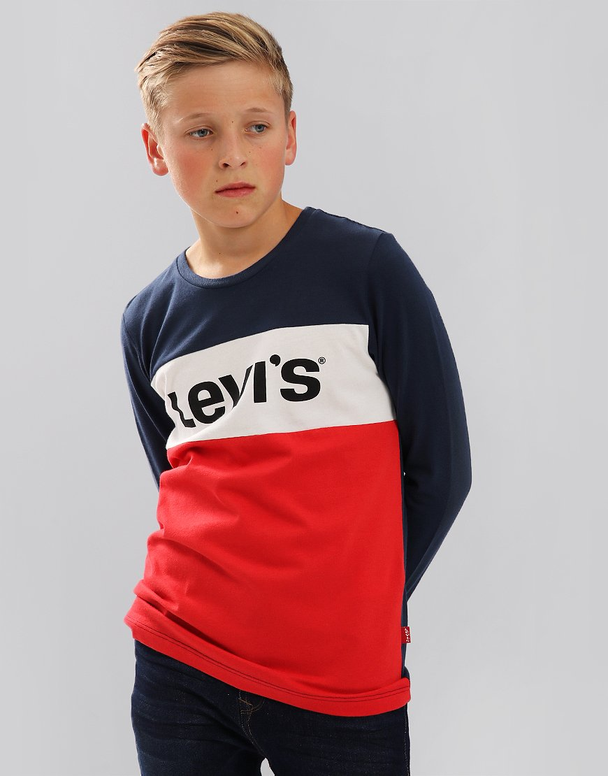 Levi's Kids Colour Block Long Sleeve T-Shirt Dress Blues
