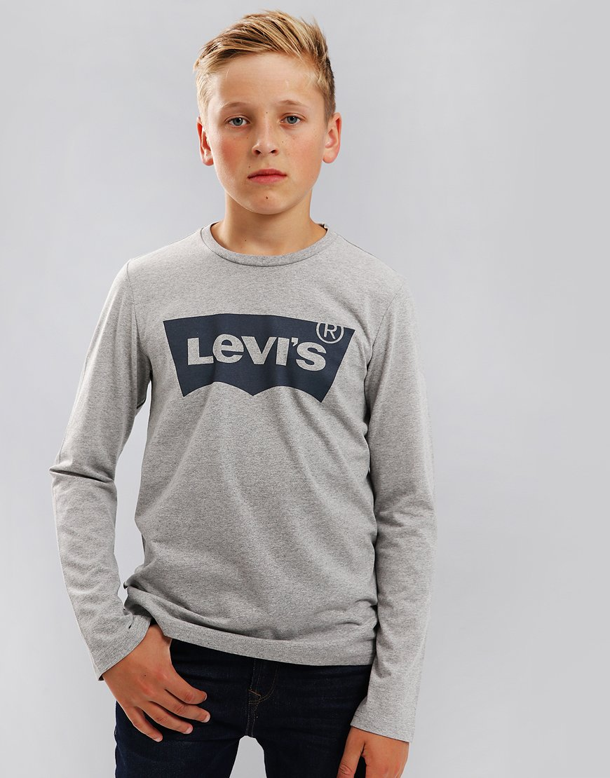 Levi's Kids Logo Print Long Sleeve T-Shirt Grey Melange