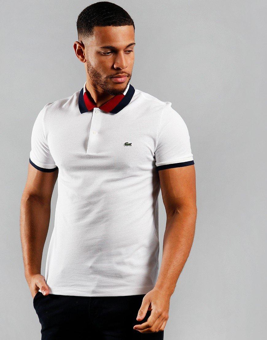 Lacoste Block Collar Polo Shirt White/Navy/Flour