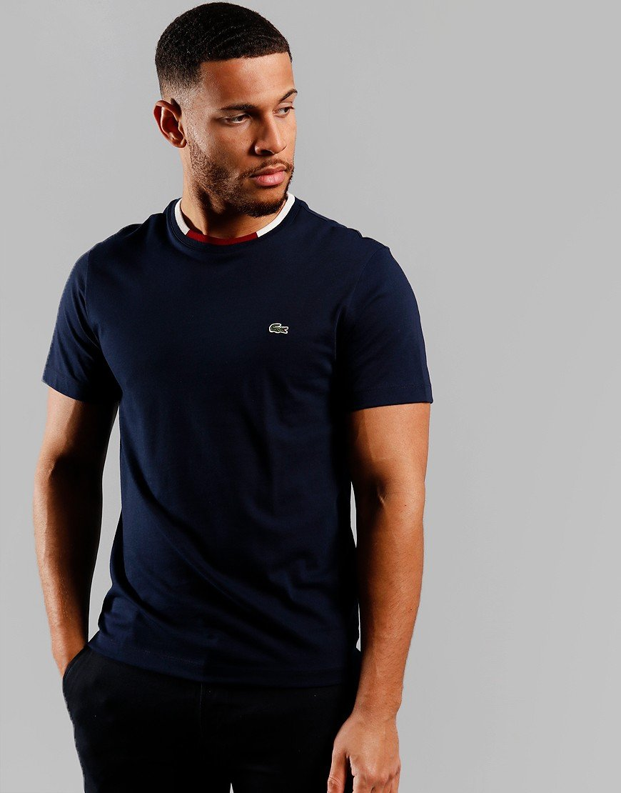 Lacoste Block Collar T-Shirt Navy Blue/Flour