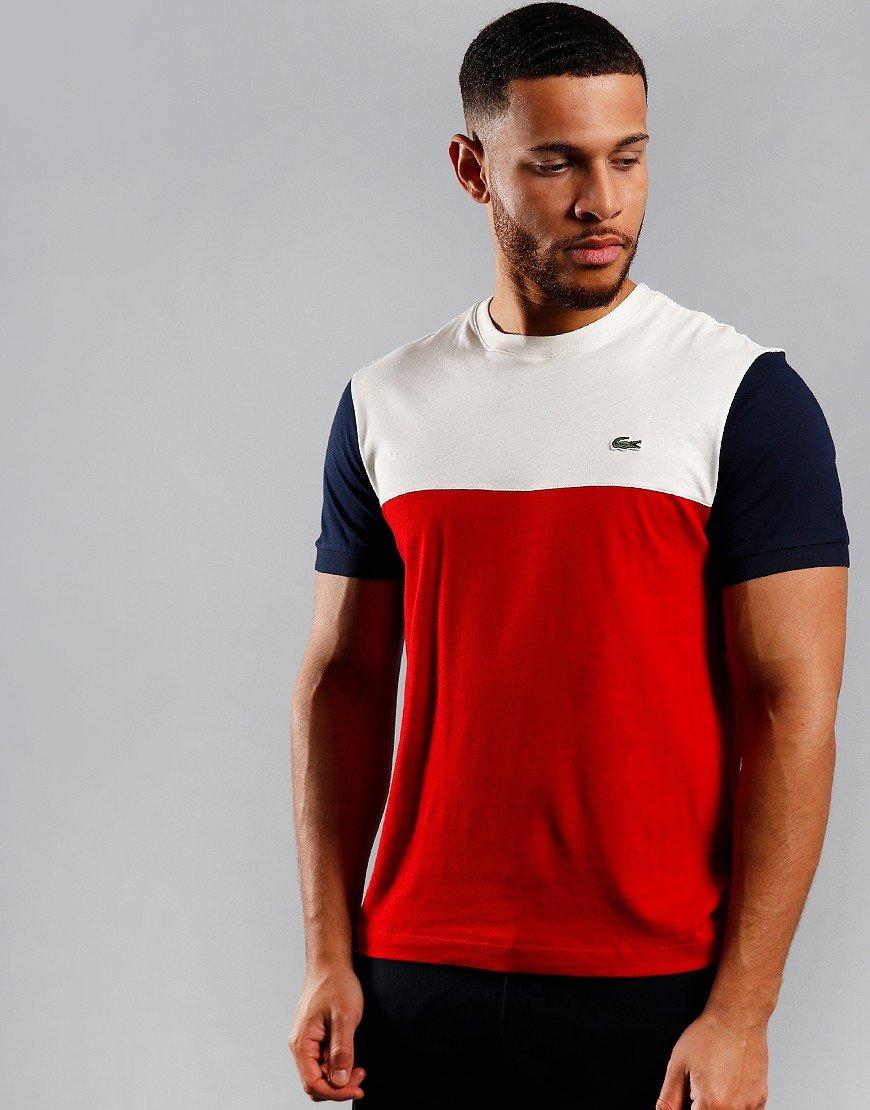 Lacoste Block T-Shirt Red/Flour/Navy