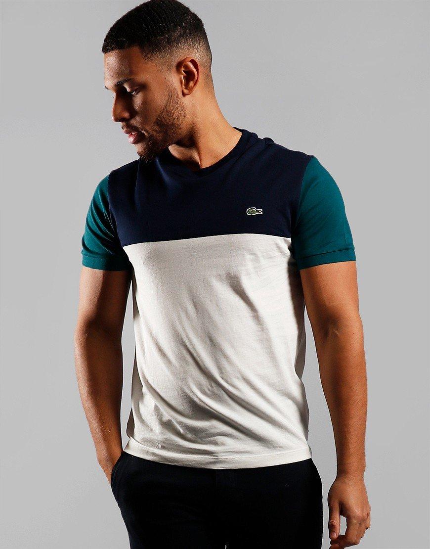 Lacoste Block T-Shirt Flour/Navy/Pine
