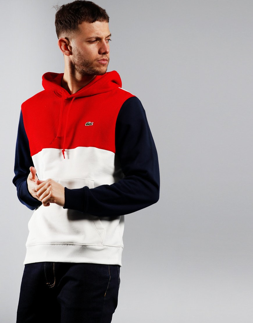 Lacoste Block Hooded Sweat Flour/Red/Navy