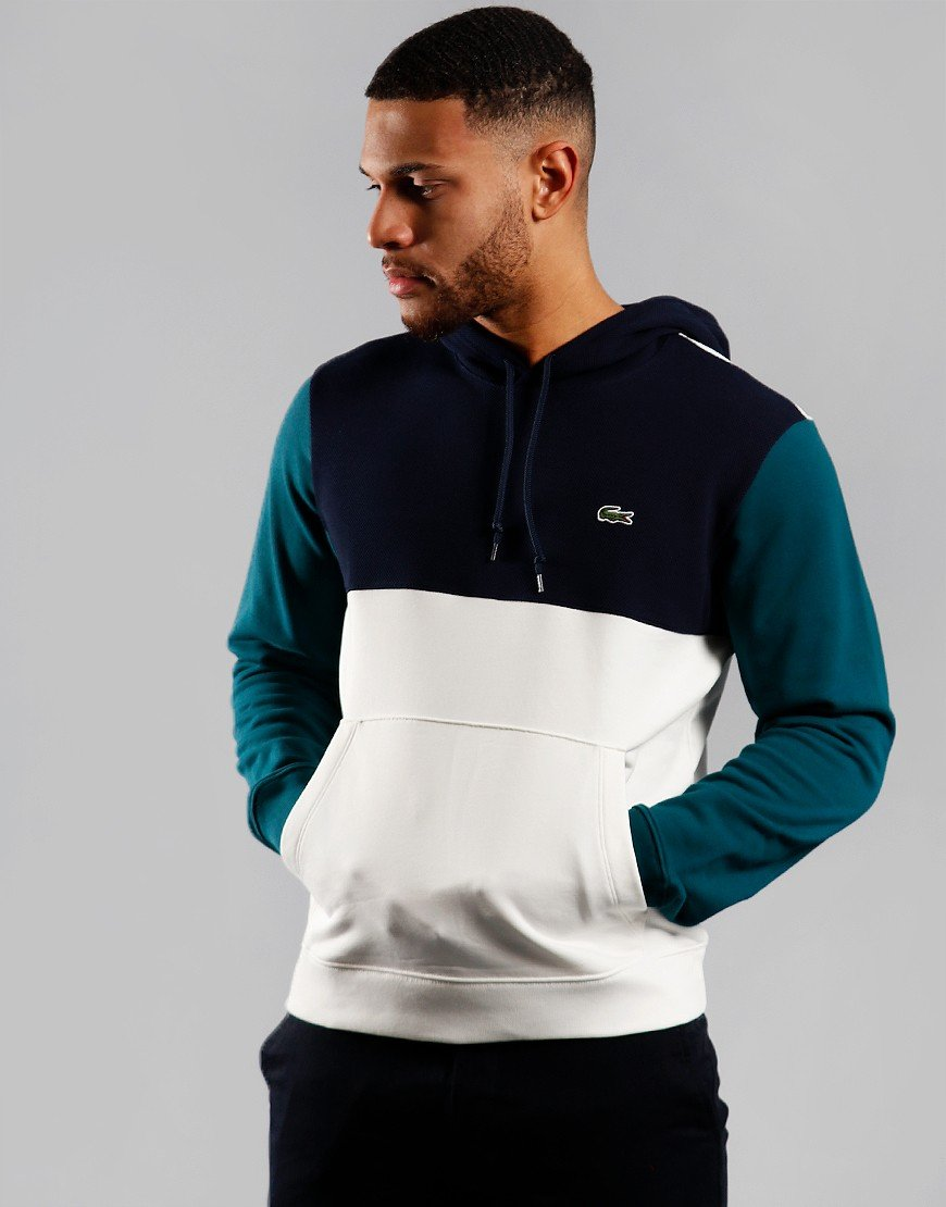 Lacoste Block Hooded Sweat Flour/Navy/Pine