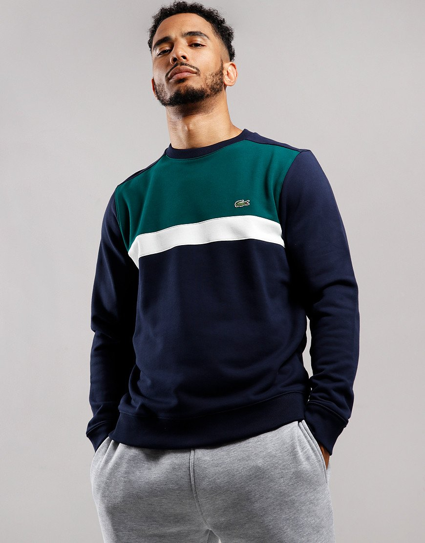 Lacoste Colour Block Crew Neck Sweat Navy/Flour/Beech