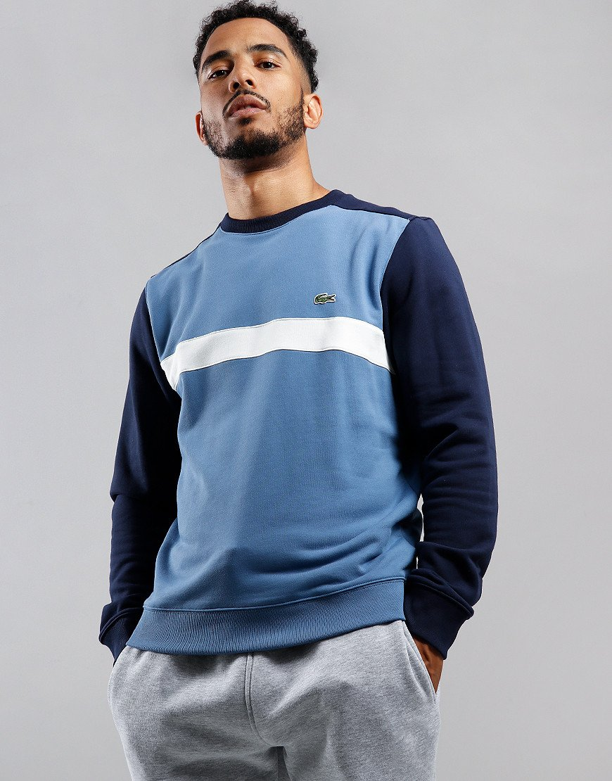 Lacoste Colour Block Crew Neck Sweat Navy/Flour/King