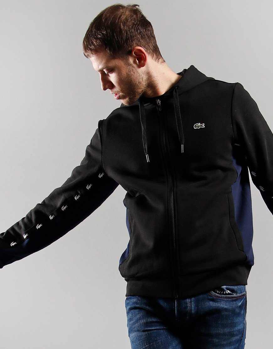Lacoste Hooded Fleece Zip Sweatshirt Black