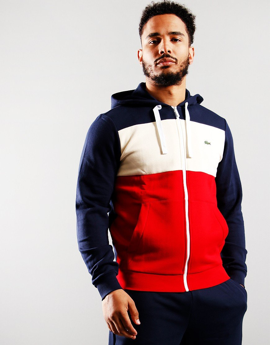 Lacoste Hooded Colourblock Zip Sweat Navy