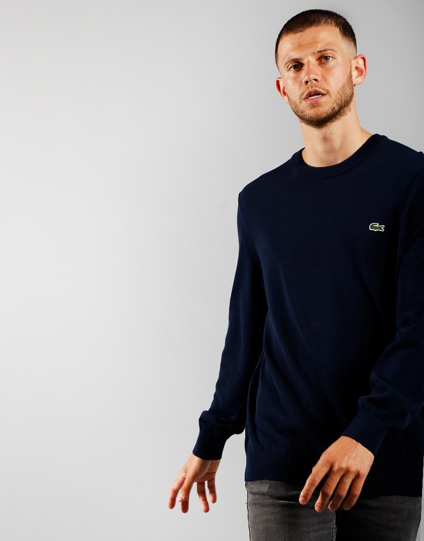Lacoste Cotton Crew Knit Navy