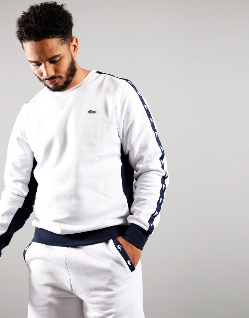 Lacoste Tape Crew Sweat White