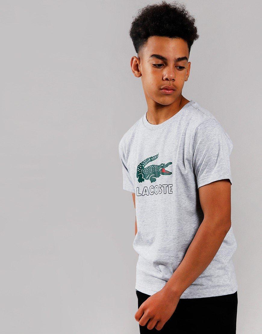 Lacoste Kids Logo Print T-Shirt Silver Chine