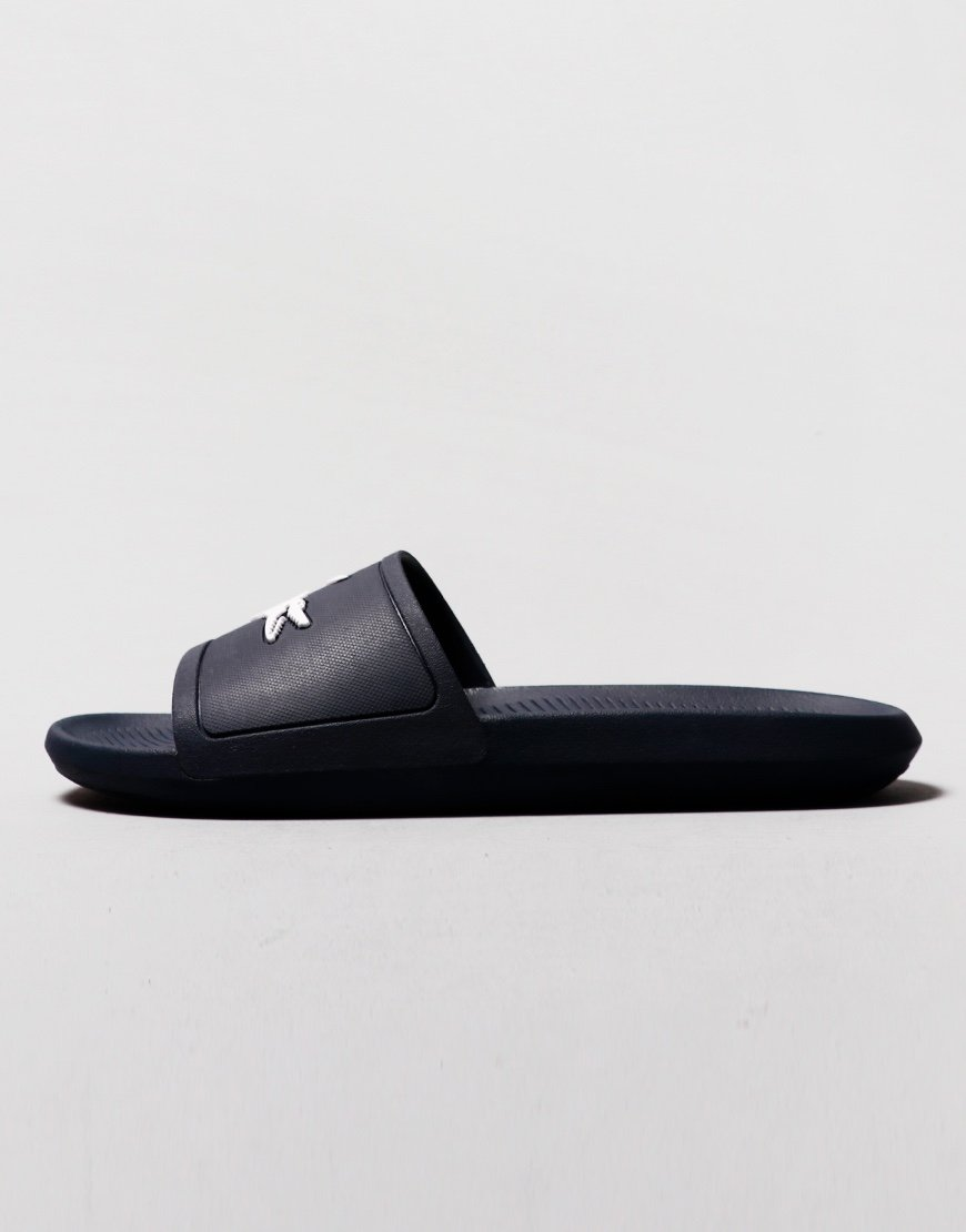 Lacoste Croco Synthetic Slides Navy
