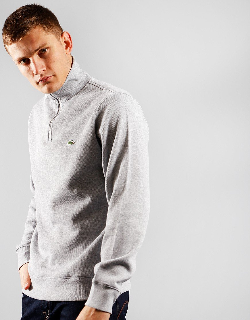 Lacoste Funnel Neck Piqué Half Zip Sweat Silver Chine