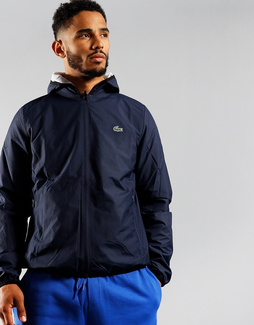 Lacoste SPORT Hooded Jacket Navy Blue/White