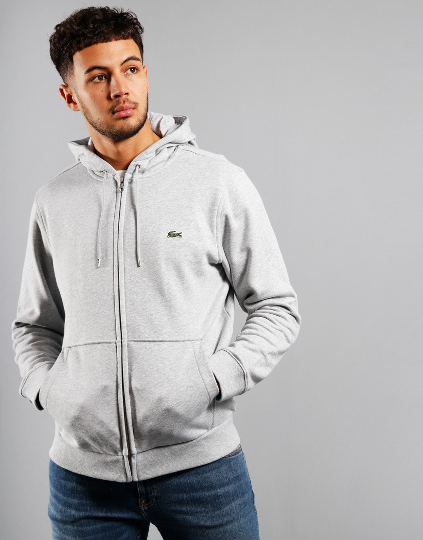 Lacoste Full Zip Hoodie Silver Chine