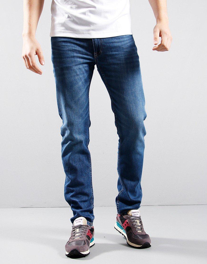 Lacoste Stretch Denim 5 Pocket Jeans Washed Deep Med