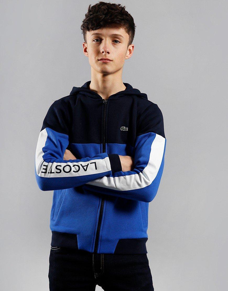 Lacoste Sport Kids Hooded Colourblock Fleece Navy