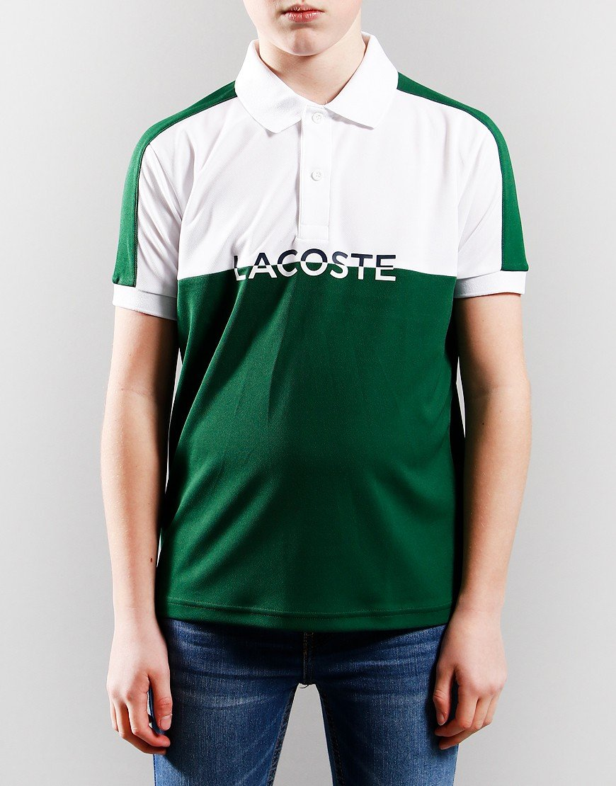 Lacoste Colour Block Polo Shirt White/Green