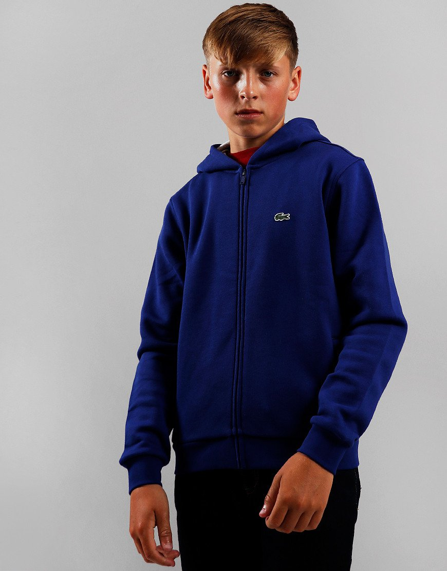 Lacoste Kids Zip Through Hoodie Ocean/Silver