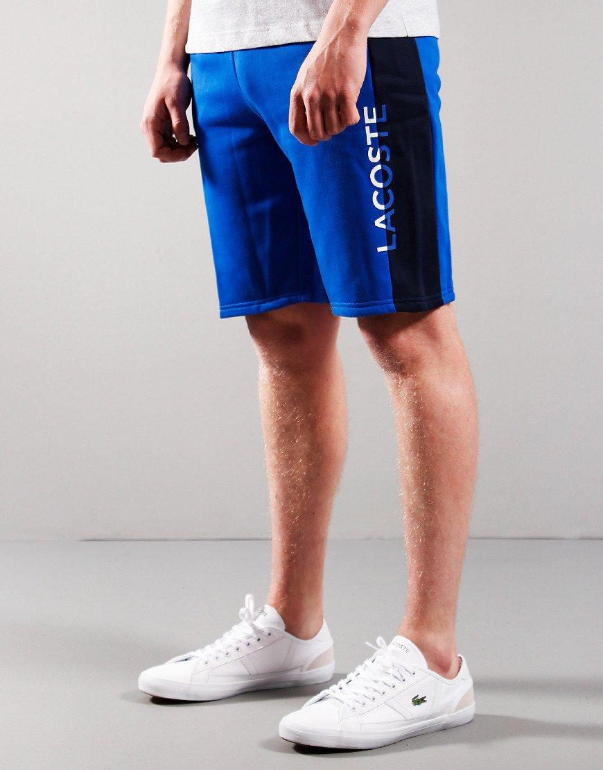 Lacoste Kids Lettered Bicolour Fleece Shorts Lazuli/Navy