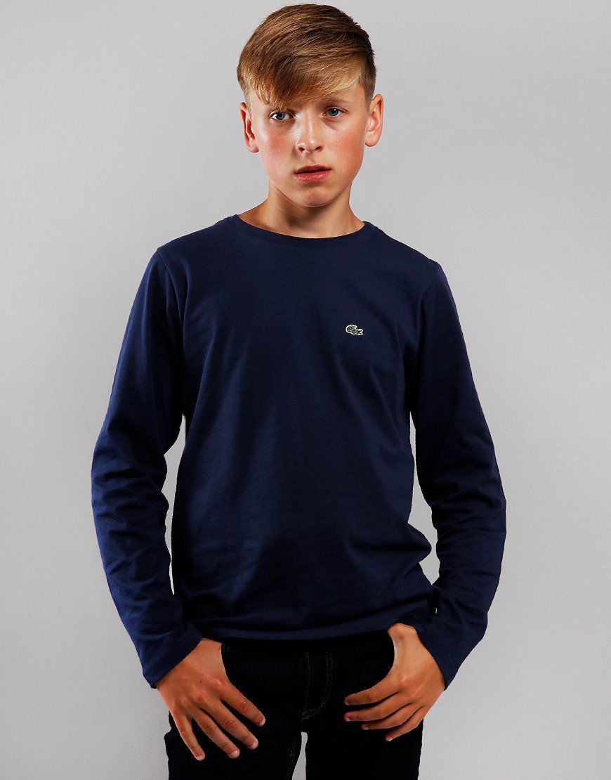 Lacoste Kids Long Sleeve Plain T-Shirt Navy