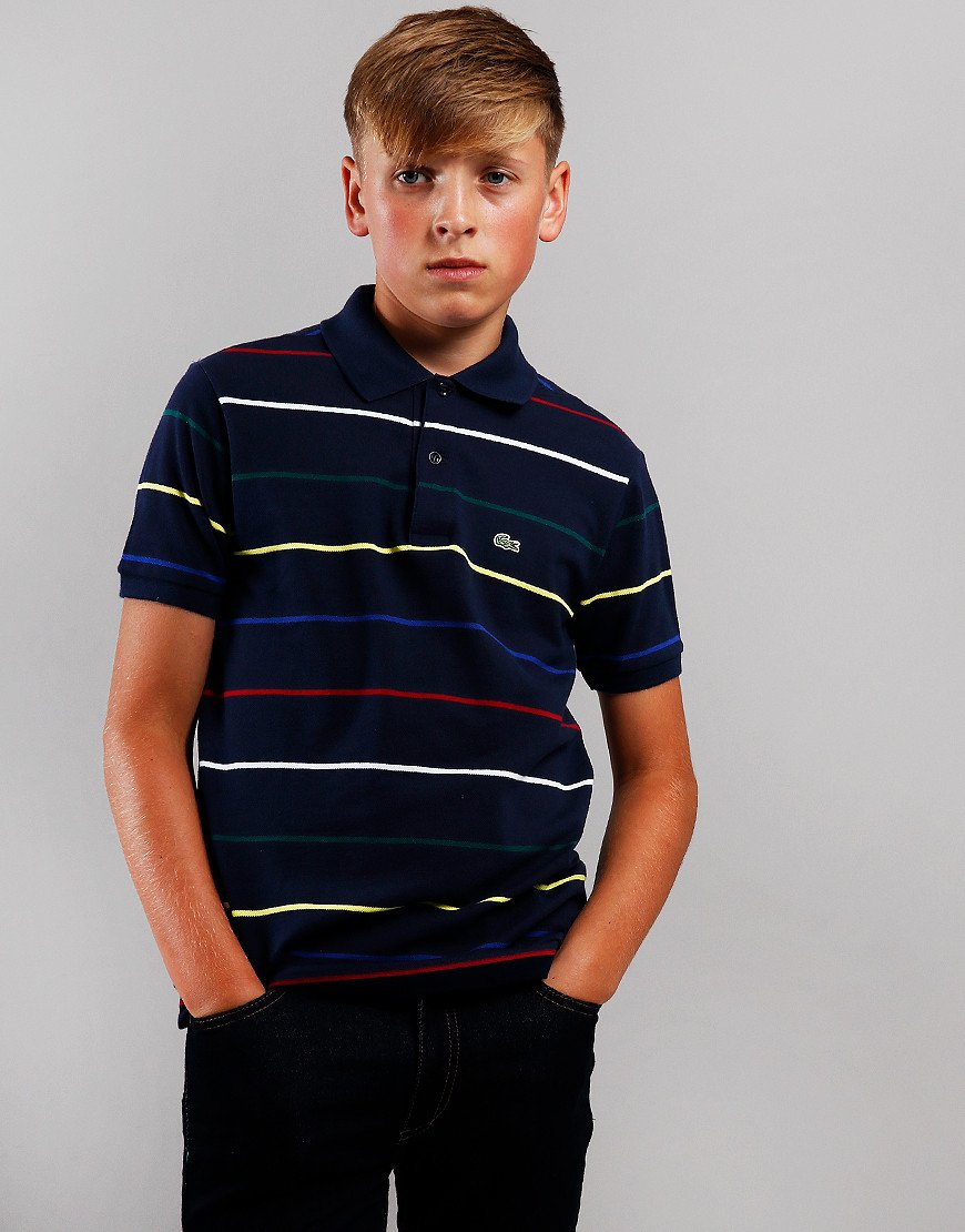 Lacoste Kids Pinstriped Polo Shirt Navy/Multi