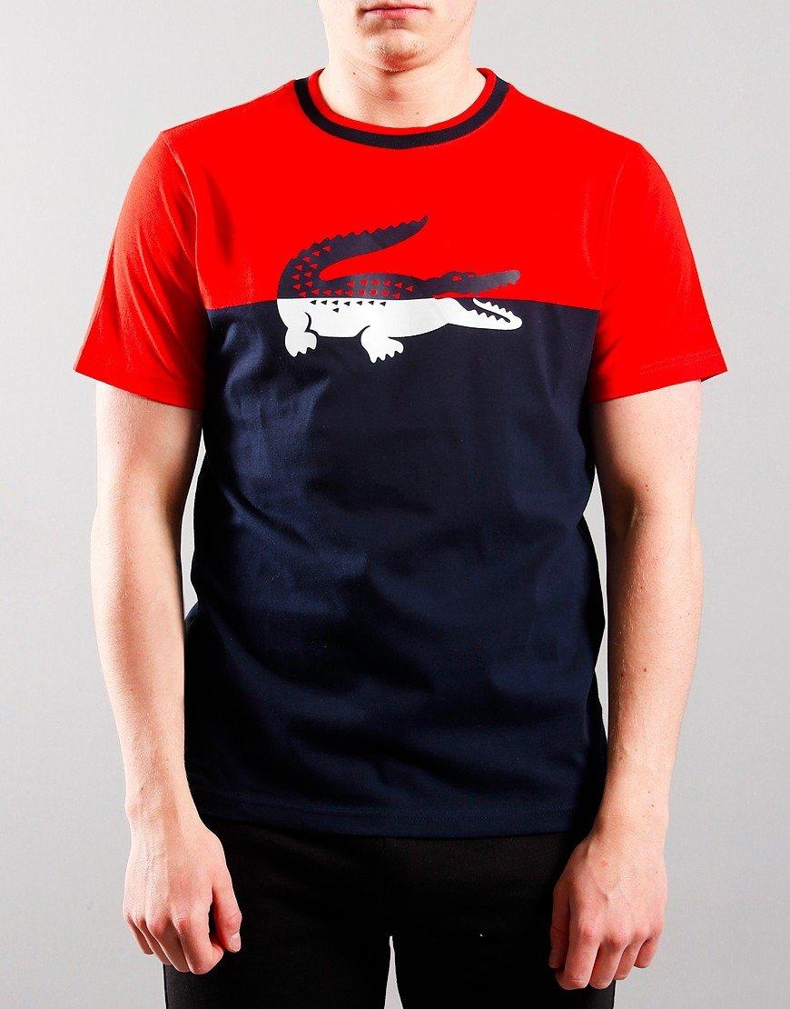 Lacoste Kids Colour Block Crocodile Logo T-Shirt Red currant Bush
