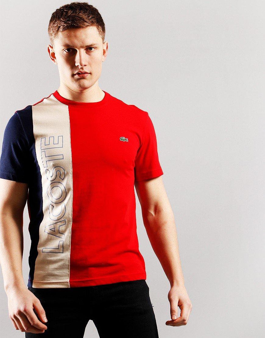 Lacoste Crew Neck Colourblock T-shirt Red/Naturel